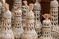 Bottles wrapped with wicker Stock Image