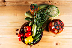 Bottling fresh vegetables for storage Stock Photography