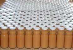 Bottling of fruit juice. Production and bottling of fruit juice Stock Images