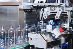 Bottling water factory. Bottling water on the process in factory Stock Photo