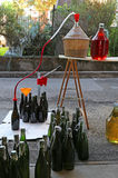 Bottling wine from the Carboy bottles Stock Images