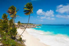 Bottom Bay. Is one of the most beautiful beaches on the Caribbean island of Barbados. It is a tropical paradise with palms hanging over turquoise sea Royalty Free Stock Images