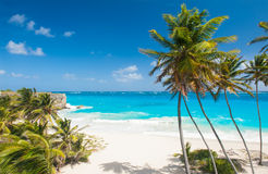 Bottom Bay. Is one of the most beautiful beaches on the Caribbean island of Barbados. It is a tropical paradise with palms hanging over turquoise sea Stock Photo