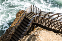Bottom of Beach Access Staircase, Sunset Cliffs, San Diego royalty free stock image