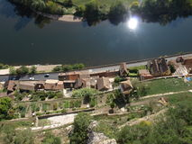 Bottom of Beynac castle Stock Photography