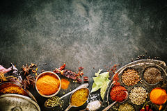 Bottom border of assorted culinary spices. Bottom border of assorted culinary and medicinal spices for use in Asian cooking over a textured grey background with stock images