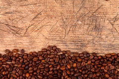 Bottom border of coffee beans Stock Photography