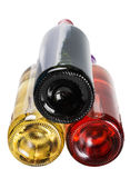 Bottom of the bottles of wine of different sorts Royalty Free Stock Photo