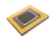 Bottom of a computer processor chip Stock Photo