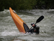 Bottom Down. This pictue of the kayaker was taken at the Bigfork Whitewater Festival in western MT Stock Photography