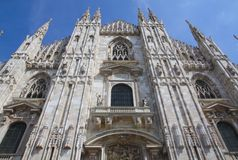 Bottom facade of the cathedral of Milan, Italy Royalty Free Stock Images