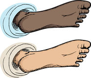 Bottom of Foot. Cartoon of underside of human foot isolated over white Royalty Free Stock Photo