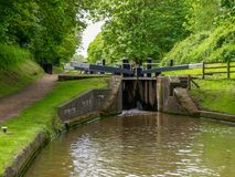 Bottom gate of a canal lock. On the Shropshire Union Canal near Audlem in Cheshire, England Royalty Free Stock Photo