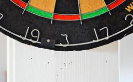 The bottom half of a Dartboard. Missing the target on the dartboard. Beginner level at darts. The dubbels of a dartboard Stock Photos