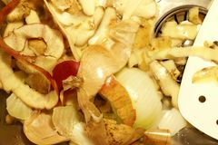 Vegetable scraps lies on the bottom of a sink royalty free stock image