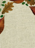 Bottom linen with decoration of fall leaves Stock Image