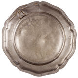 Bottom of old pewter plate Stock Photos