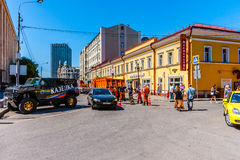 The bottom part of Arbat street of Moscow. Russia, on Sunday, July 13, 2014. Vakhtangov Theatre and fountain Turandot in Arbat street of Moscow, Russia, on Royalty Free Stock Photos