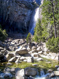 Bottom part of the Bridalveil Fall in the Yosemite Valley Stock Image