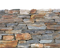 Bottom part rough stone textured wall background isolated on top Royalty Free Stock Photo