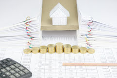 Bottom of pencil have house on envelope between paperwork Royalty Free Stock Images