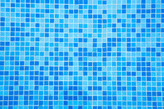 Bottom of the pool of blue tiles Stock Photos