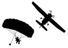 Bottom profile silhouette of sky diver with open parachute   Royalty Free Stock Photo