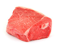 Bottom round roast. Side view of a freshly cut bottom round roast against a white background stock image