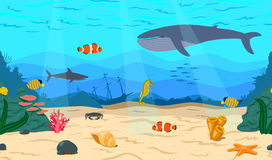 The bottom of the sea. The ocean and marine life. Coral reef, sand, and a sunken ship. Whale, shark, clown fish, sea horse and Royal angelfish. Underwater world vector illustration