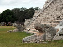 The snake stairs of the pyramid of Chichen Itza. royalty free stock photography