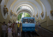 At the bottom station of the Kiev funicular Royalty Free Stock Photo