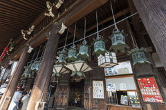 Bottom of steps entering Nigatsu-do Hall on the Todai-ji temple Royalty Free Stock Images