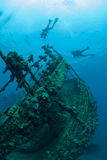 Bottom Sunken Ship Wreck Underwater Royalty Free Stock Photo