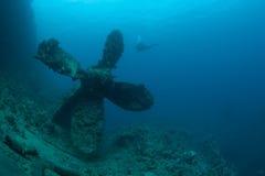 Bottom sunken ship wreck underwater Stock Images