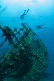 Bottom sunken ship wreck underwater. Sunken ship wreck underwater diving Sudan Red Sea royalty free stock photo