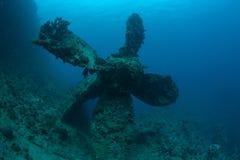 Bottom sunken ship wreck underwater. Sunken ship wreck underwater diving Sudan Red Sea royalty free stock image