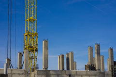 Bottom of tower crane on construction site Stock Photo