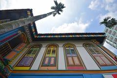 Bottom up mening van Tan Teng Niah Residence met lange palm Royalty-vrije Stock Foto