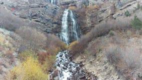 Bridal Veil Falls. A bottom up panning shot of Bridal Veil Falls in Provo Canyon, Utah stock footage