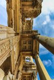 Bottom up view of the facade of Celsus Library stock image