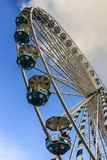 Bottom up view of the ferris wheel situated at the end of La Concha beach promenade heading to royalty free stock photography
