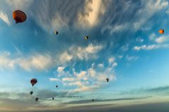 Bottom up view of hot air balloons flying over Cappadocia royalty free stock photo