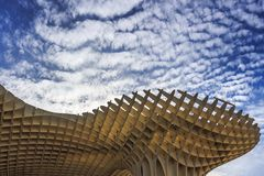 Bottom up view of Mushrooms of Seville , also known as Metropol Parasol. It was designed by the German architect Jurgen Mayer royalty free stock photos