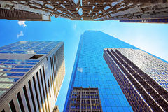 Bottom up view on skyscrapers mirrored in glass in Philadelphia Royalty Free Stock Photo
