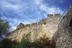 Bottom-up view to the medieval castle wall and birds flying in t. He blue cloudy sky Stock Image