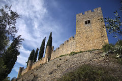Bottom-up view to the medieval castle wall and blue cloudy sky. Beauty of architecture Royalty Free Stock Photography