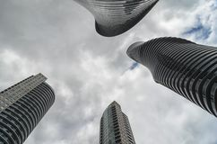 Bottom-up view to skyscrapers in Mississauga Royalty Free Stock Photos