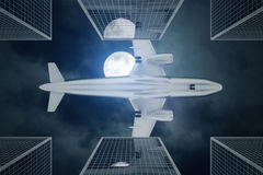 Bottom view of aiplane in night sky. Bottom view of airplane flying above modern city in night sky with full moon. Travel concept. 3D Rendering Royalty Free Stock Photography