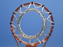 Bottom view of amateur basketball hoop Stock Images