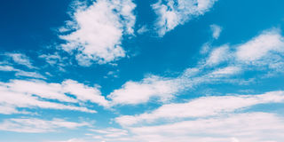 Bottom View Of Blue Sky With White Cirrostratus Clouds Royalty Free Stock Photo